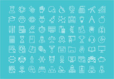Set Vector Flat Line Icons University Royalty Free Stock Photography