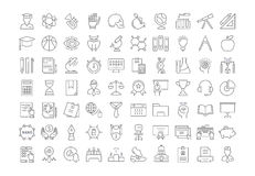 Set Vector Flat Line Icons University Royalty Free Stock Images