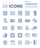 Set Vector Flat Line Icons Upgrading Computer Royalty Free Stock Photos
