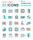 Set Vector Flat Line Icons Upgrading Computer Stock Photo