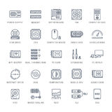 Set Vector Flat Line Icons Upgrading Computer Stock Photos