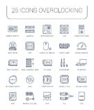 Set Vector Flat Line Icons Upgrading Computer Royalty Free Stock Photography