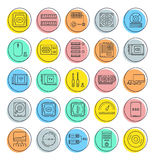 Set Vector Flat Line Icons Upgrading Computer Stock Image