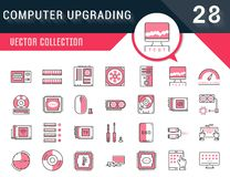 Set Vector Flat Line Icons Upgrading Computer. Set vector line icons with open path upgrading computer and hardware, overclocking, cooling, test cpu and gpu with stock illustration