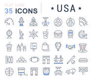 Set Vector Flat Line Icons USA and America Royalty Free Stock Images