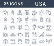Set Vector Flat Line Icons USA and America Stock Photos
