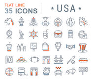 Set Vector Flat Line Icons USA and America Stock Photo