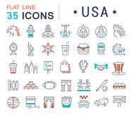 Set Vector Flat Line Icons USA and America Stock Images