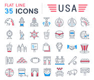 Set Vector Flat Line Icons USA and America Stock Image