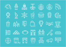 Set Vector Flat Line Icons USA and America Royalty Free Stock Photo
