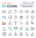 Set Vector Flat Line Icons Vancouver and Canada Stock Image