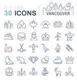 Set Vector Flat Line Icons Vancouver and Canada Royalty Free Stock Photo