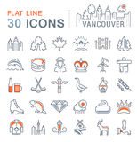 Set Vector Flat Line Icons Vancouver and Canada Royalty Free Stock Image