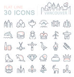 Set Vector Flat Line Icons Vancouver and Canada Stock Photography