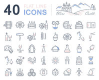 Set Vector Flat Line Icons Wine vector illustration