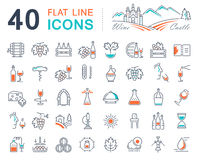 Set Vector Flat Line Icons Wine Royalty Free Stock Image
