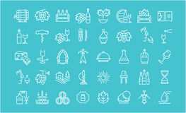 Set Vector Flat Line Icons Wine Royalty Free Stock Images