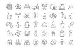 Set Vector Flat Line Icons Wine Stock Photography