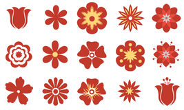 Set of vector flat red flowers. Symbol or icon Royalty Free Stock Image