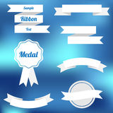Set of vector flat ribbons and labels Stock Photos