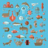 Set of vector flat sealife elements, plants and sea animals - shark, jellyfish, octopus and others. Collection of modern. Sea underwater life isolated royalty free illustration