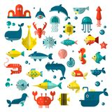 Set of vector flat sealife elements, plants and sea animals - shark, jellyfish, octopus and others. Collection of modern. Sea underwater life isolated stock illustration