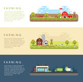 Set of Vector Flat Style Illustrations of Farm Landscape Royalty Free Stock Photography