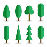 Set of 8 vector flat trees with shadows Royalty Free Stock Photos