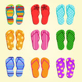 Set of vector flip flops Stock Photos