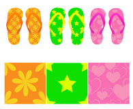 Set of vector flop-flops with seamless. Three flip-flops with  seamless using Stock Photography