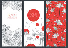Set of vector floral banner backgrounds and seamless pattern. Li Royalty Free Stock Photo