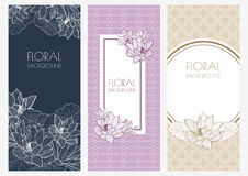 Set of vector floral banner backgrounds and seamless pattern. Vi Stock Photography