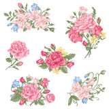 Set of vector floral design elements. A collection of romantic bouquets with garden roses, sweet peas and bell in pastel colors on a white background Stock Photo
