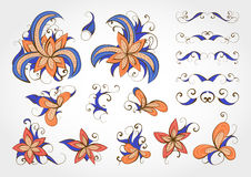Set of vector floral elements and objects for design. Collection of elements in blue and orange colors Stock Photo