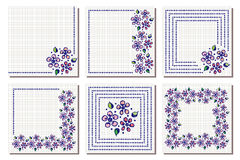 Set of vector floral frame, card, border. Greeting cards. Different template with colorful hand drawn flowers and leaves. Graphic Stock Photography