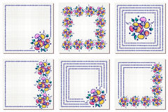 Set of vector floral frame, card, border. Greeting cards. Different template with colorful hand drawn flowers and leaves. Graphic Royalty Free Stock Photos