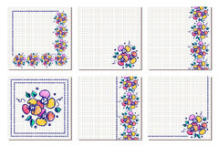 Set of vector floral frame, card, border. Greeting cards. Different template with colorful hand drawn flowers and leaves. Graphic Royalty Free Stock Images