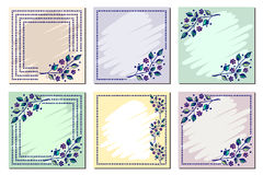 Set of vector floral frame, card, border. Greeting cards. Different template with colorful hand drawn flowers and leaves. Graphic Royalty Free Stock Image