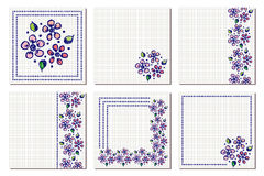 Set of vector floral frame, card, border. Greeting cards. Different template with colorful hand drawn flowers and leaves. Graphic Royalty Free Stock Photography