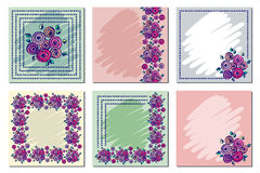 Set of vector floral frame, card, border. Greeting cards. Different template with colorful hand drawn flowers and leaves. Graphic Stock Photo