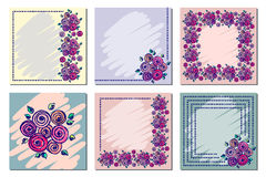 Set of vector floral frame, card, border. Greeting cards. Different template with colorful hand drawn flowers and leaves. Graphic Stock Images