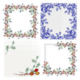 Set of vector floral frame, card, border. Greeting cards Stock Images