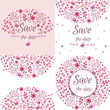 Set of vector floral frames. Cute collection of wreaths made of hand drawn leaves and flowers.  Royalty Free Stock Image