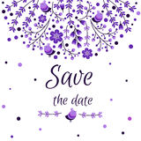 Set of vector floral frames. Cute collection of wreaths made of hand drawn leaves and flowers. Vintage set for. Invitations. save the date cards and other Stock Images