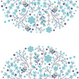 Set of vector floral frames. Cute collection of wreaths made of hand drawn leaves and flowers. Vintage set for Royalty Free Stock Images