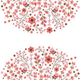 Set of vector floral frames. Cute collection of wreaths made of hand drawn leaves and flowers. Vintage set for Stock Photo