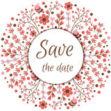 Set of vector floral frames. Cute collection of wreaths made of hand drawn leaves and flowers. Vintage set for. Invitations. save the date cards and other Royalty Free Stock Photos