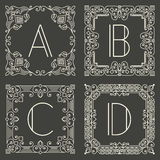 Set of vector floral and geometric monogram logos Stock Photography