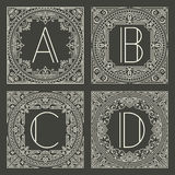 Set of vector floral and geometric monogram logos Stock Images