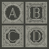 Set of vector floral and geometric monogram logos Stock Photo